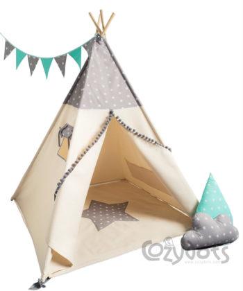 Tipi namiot Grey Stars Boy - zestaw