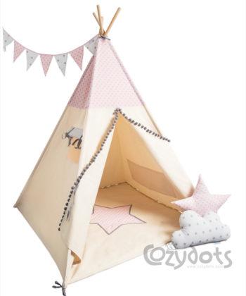 Tipi namiot Little Stars Pink - zestaw