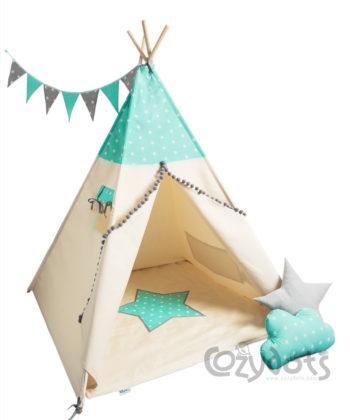 Tipi namiot Mint Stars Boy - zestaw