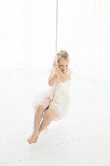 wooden round pink swing